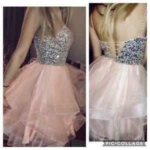 Tulle Short Embellished-Bodice Prom Dress